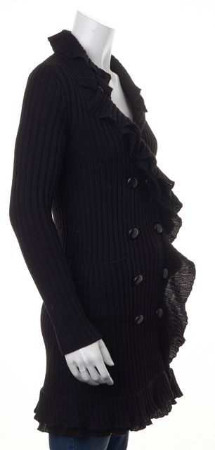 PRADA Black Wool Double Breasted Button Front Ruffle Trim Cardigan