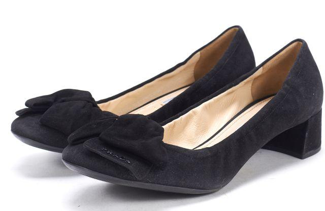 PRADA Black Suede Bow Embellished Low Pump Block Heels