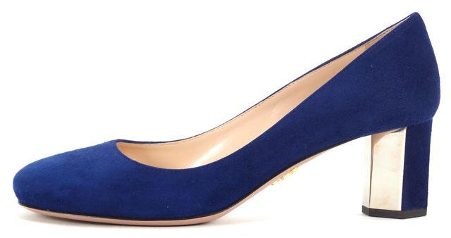 PRADA Royal Blue Suede Mirror Embellished Camoscio Heels