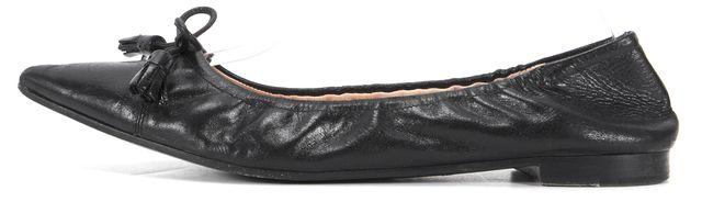 PRADA Black Leather Pointed Toe Tassel Flats