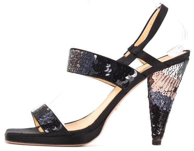 PRADA Black Satin Sequin Embellished Slingback Square Toe Sandal Heels