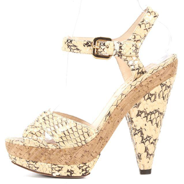 PRADA Ivory Black Embossed Leather Ankle Strap Platform Sandal Heels Size