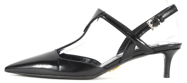PRADA Black Leather Pointed T-Strap Kitten Heels
