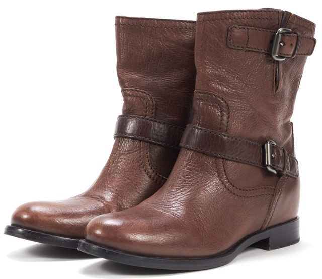 PRADA Brown Leather Silver Buckle Flat Ankle Boots
