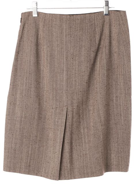 PRADA Brown Wool Blend Above Knee Straight Skirt