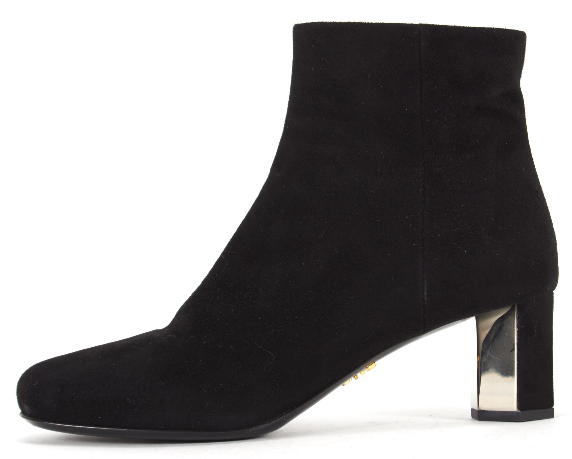 Prada Black Suede Round Toe Low Heel Ankle Boots | Material World