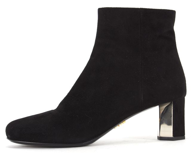 PRADA Black Suede Round Toe Low Heel Ankle Boots