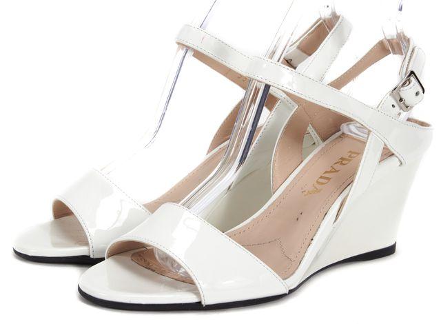 PRADA White Patent Leather Sandal Wedges