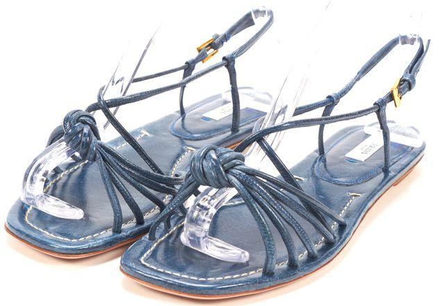 PRADA Blue Leather Skinny Strap Knot Flat Sandals