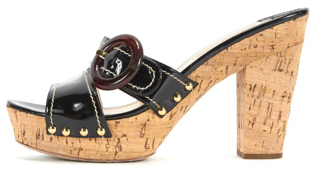 PRADA Black Patent Leather Cork Platform Sandal Heels