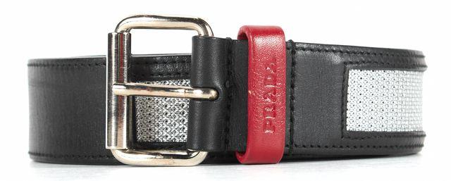 PRADA Black Red Leather Silver Canvas Stripe Belt