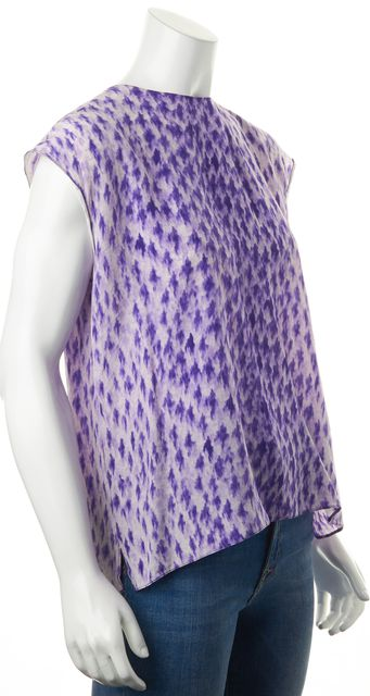PRADA Purple White Abstract Printed Button Back Relaxed Fit Blouse