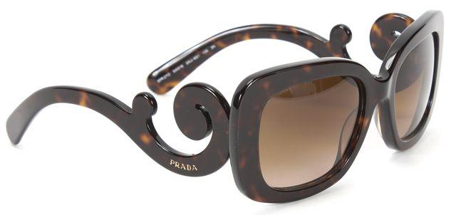 PRADA Brown Tortoise Acetate Gradient Lens Baroque Sunglasses w Case