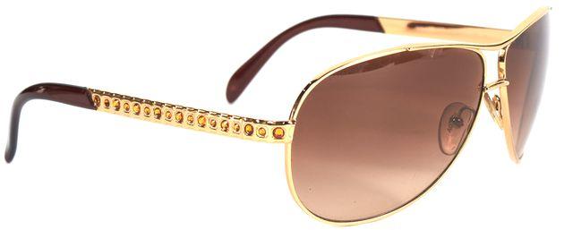 PRADA Gold Metal Jewel Embellished Gradient Lens Aviator Sunglasses