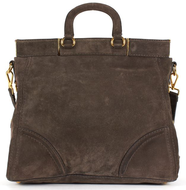 PRADA Brown Suede Leather Gold Tone Hardware Satchel Tote