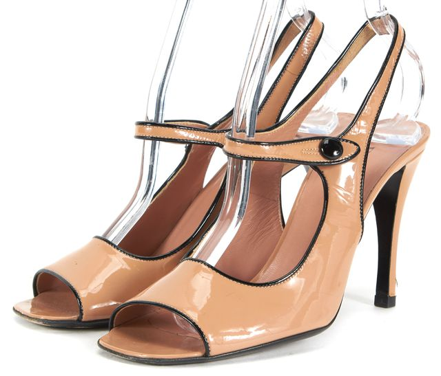 PRADA Beige Patent Leather Sling Back Square Toe Mary Jane Pumps