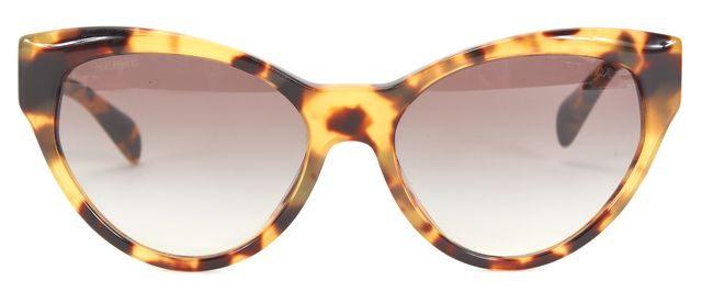 PRADA Brown Beige Tortoise Acetate Frame Cat Eye Sunglasses
