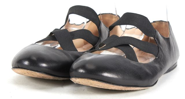 PRADA Leather Criss Cross Elastic Round Toe Ballerina Flats