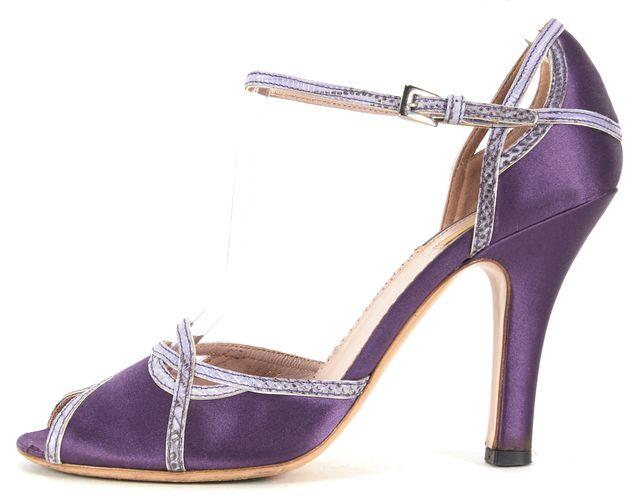 PRADA Purple Satin Snake Embossed Leather Peep-Toe Ankle Strap Heels