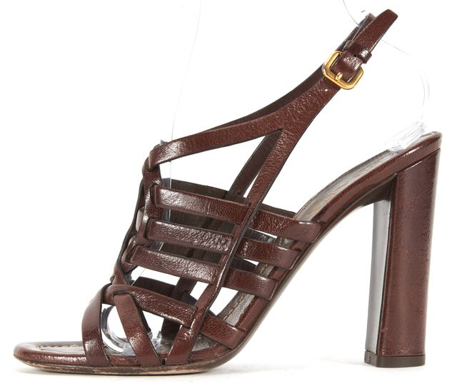 PRADA Brown Leather Caged Ankle Strap Sandal Heels