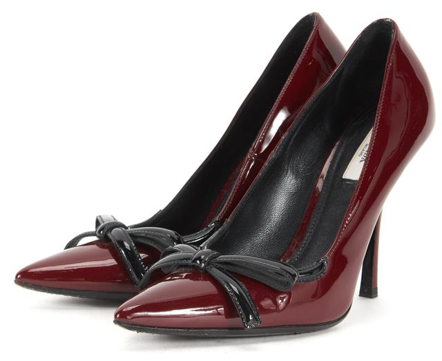 PRADA Maroon Red Black Patent Leather Pointed Toe Heels