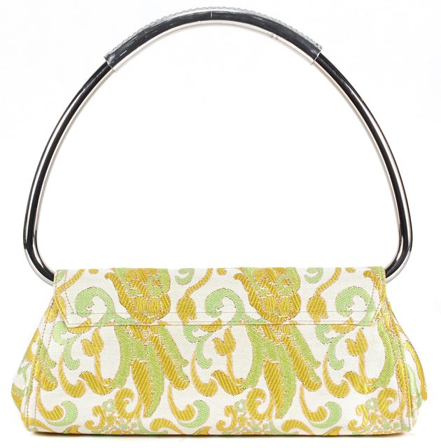 PRADA Yellow Green Ivory Floral Embroidered Canvas Shoulder Bag