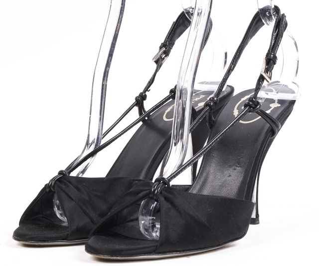 PRADA Black Satin Open Toe Slingback Pump Heels