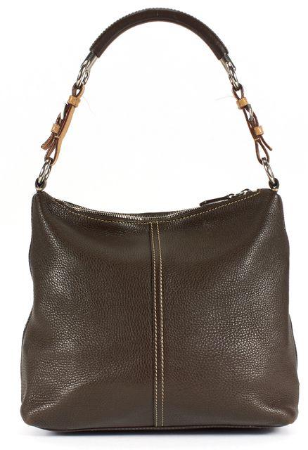 PRADA Brown Pebbled Leather Contrast Stitch Silver Hardware Shoulder Bag