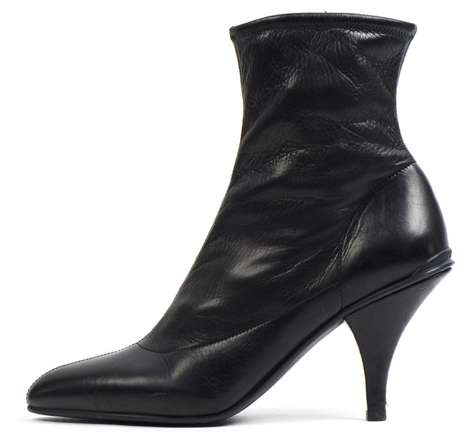 PRADA Black Leather Pointed Toe Ankle Boots