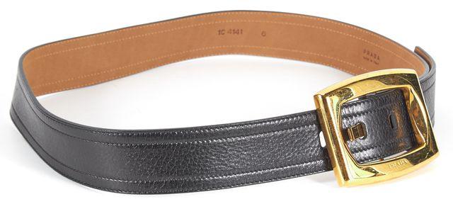 PRADA Black Pebbled Leather Gold Tone Hardware Belt