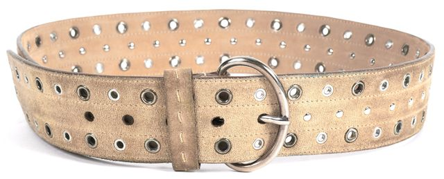 PRADA Beige Suede Studded Grommet Belt