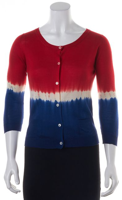 PRADA Red Blue Ivory Color Block Tie Dye Button Front Cardigan