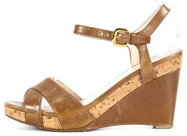 PRADA Brown Leather Wedged Sandals