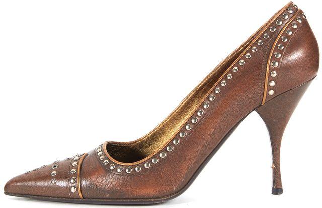 PRADA Brown Embellished Leather Pointed Toe Heels