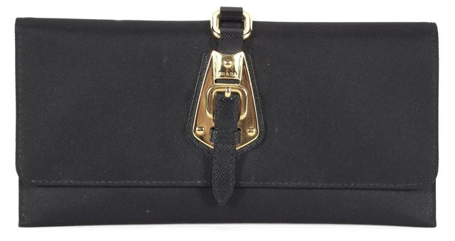 PRADA Black Canvas Gold Hardware Continental Fold Over Wallet