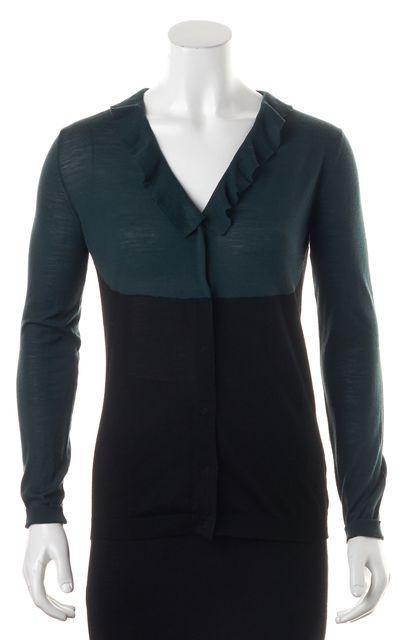 PRADA Green Black Color Block Button Front Cardigan