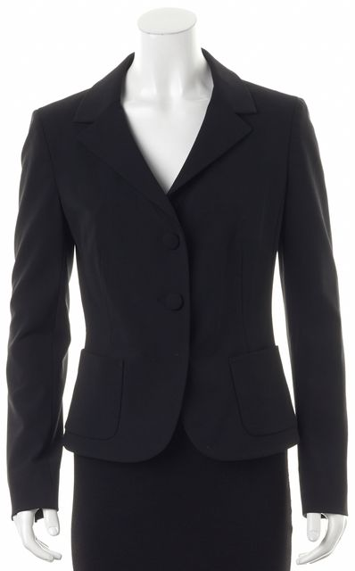 PRADA Black Wool Button Front Notch Lapel Career Blazer