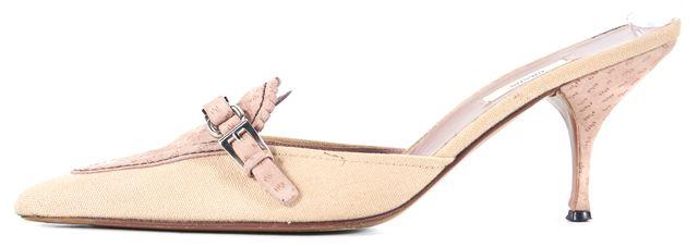 PRADA Pink Beige Suede Canvas Pointed Toe Slip-On Heels