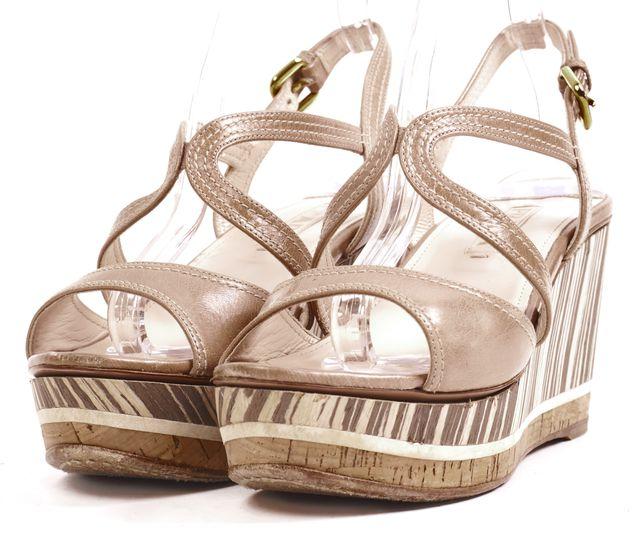 PRADA Beige Leather Cork Sandal Wedges