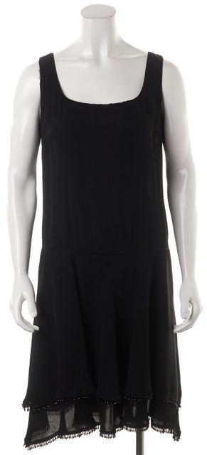 PRADA Black Beaded Embellished Hem Drop Waist Layered Shift Dress