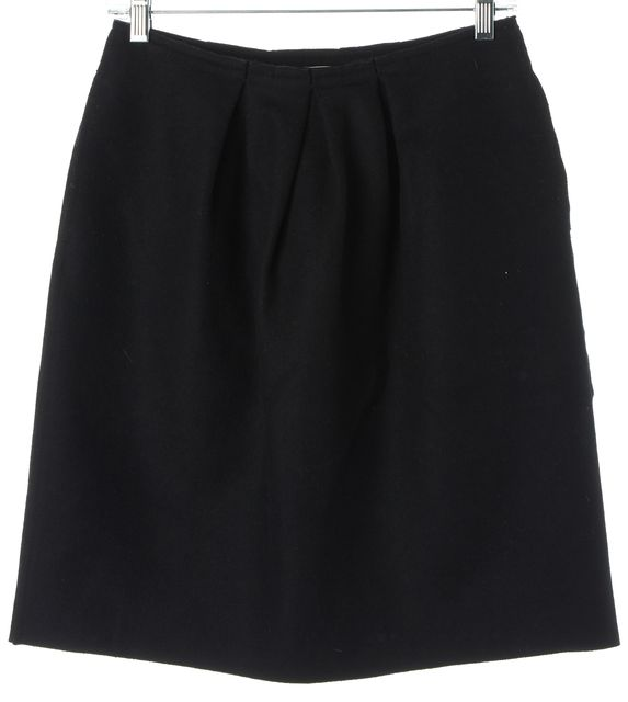 PRADA Black Wool Blend Pleated A-Line Skirt