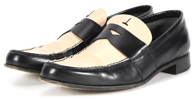 PRADA Black Ivory Leather Loafers