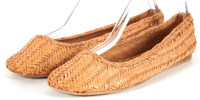 PRADA Brown Woven Leather Flats