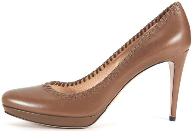 PRADA Brown Leather Almond Toe Platform Heels