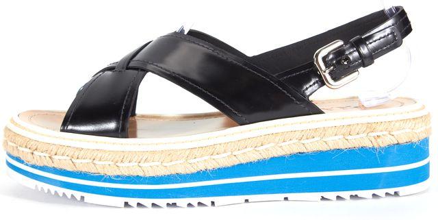 PRADA Black Blue Leather Platform Espadrille Sandals