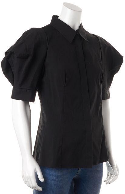 PRADA Black Balloon Sleeve Button Front Blouse Top