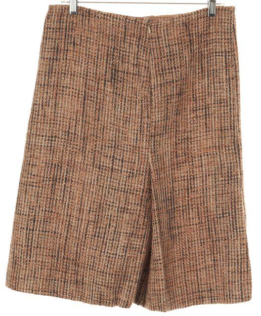 PRADA Beige Multi Tweed Pleated A-Line Skirt