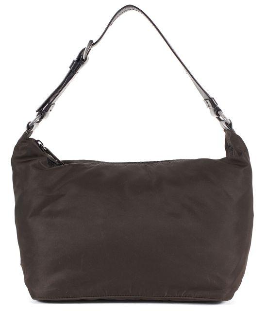 PRADA Brown Black Nylon Leather Trim Adjustable Strap Shoulder Bag