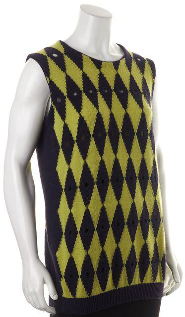 PRADA Purple Green Argyle Cutout Wool Sleeveless Crewneck Sweater