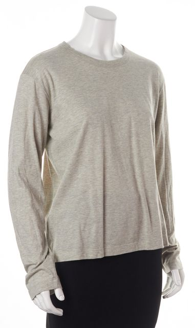PRADA Light Gray Crewneck Long Sleeve Basic T-Shirt